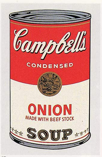 famous painting Campbell'S boîte de soupe ( oignon ) of Andy Warhol