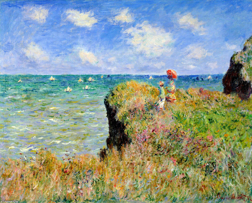Achat Reproductions D'œuvres D'art | promenade au sommet d'une falaise à pourville de Claude Monet | Most-Famous-Paintings.com