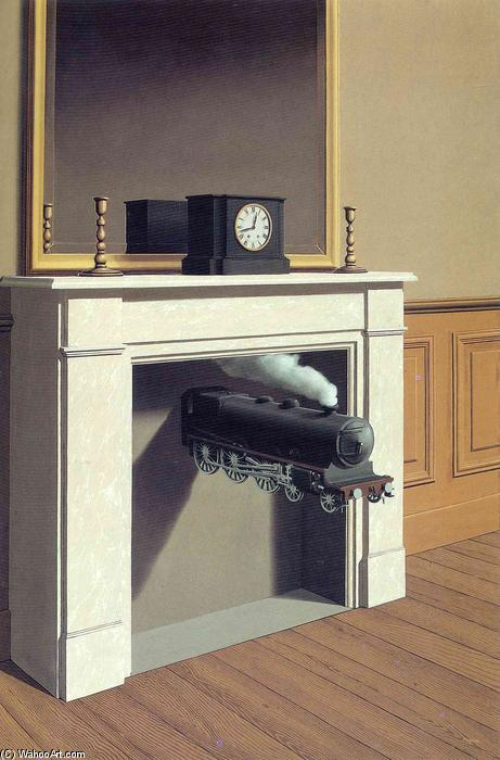 famous painting Temps transpercé of Rene Magritte