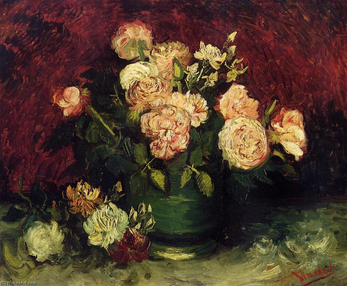 Achat Reproductions D'art | bol avec pivoines et roses de Vincent Van Gogh | Most-Famous-Paintings.com