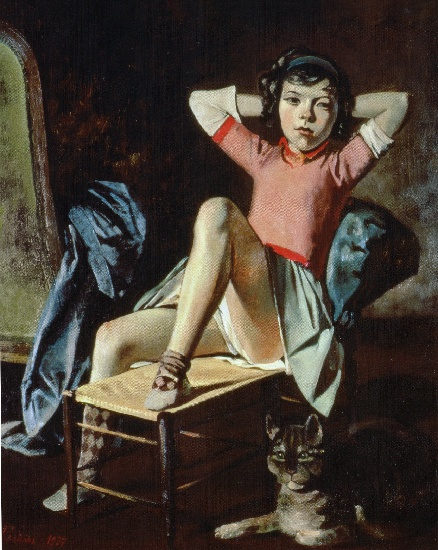 | fille avec cat de Balthus (Balthasar Klossowski) | Most-Famous-Paintings.com