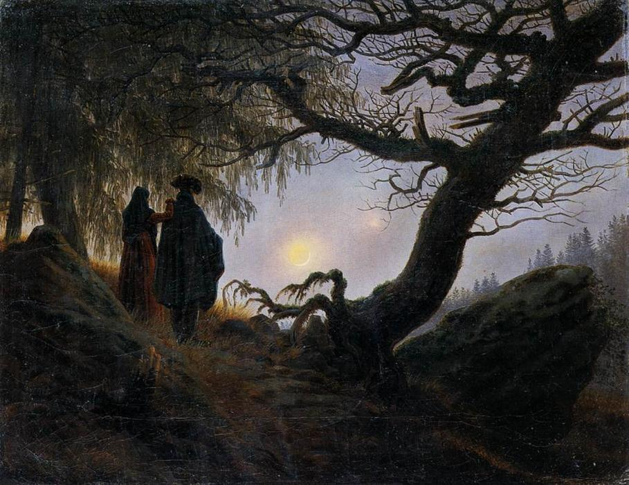 Achat Reproductions De Peintures | Homme et femme CONTEMPLER  la  lune  de Caspar David Friedrich | Most-Famous-Paintings.com