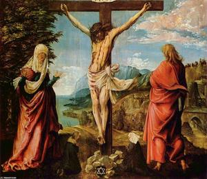 Albrecht Altdorfer - Crucifixion scene ,  Christ on la croix with Mary et john