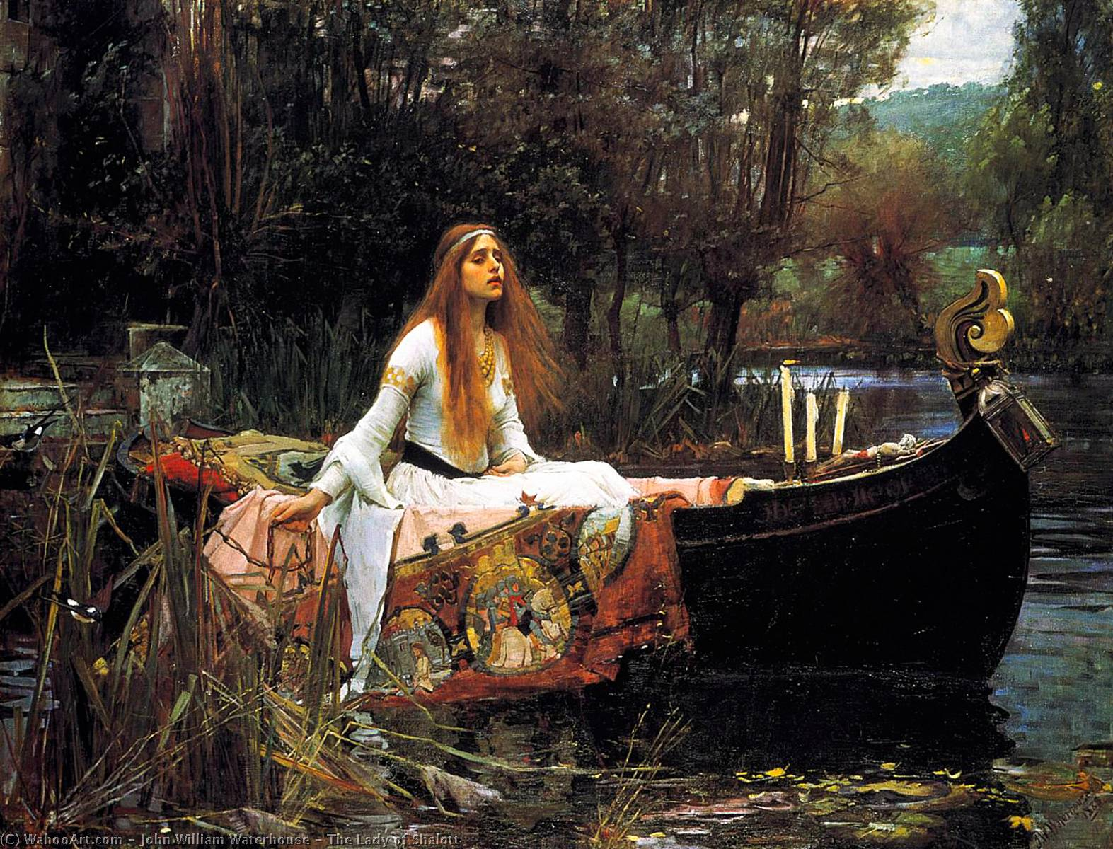 Achat Reproductions D'œuvres D'art | la dame de shalott de John William Waterhouse | Most-Famous-Paintings.com