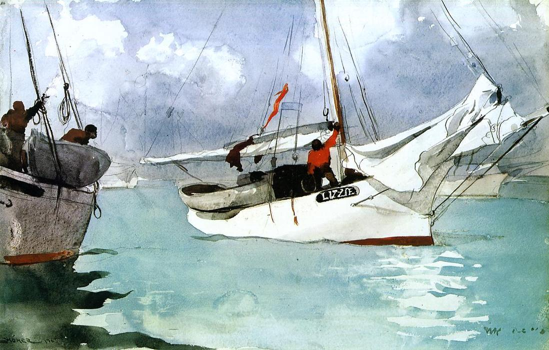 Achat Reproductions De Peintures | bateaux de pêche , key west de Winslow Homer | Most-Famous-Paintings.com
