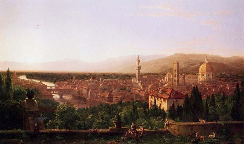 famous painting vue d florence san miniato  of Thomas Cole