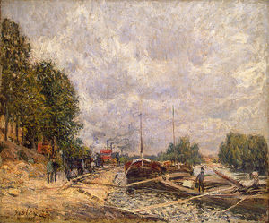 Alfred Sisley - Barges à Billancourt