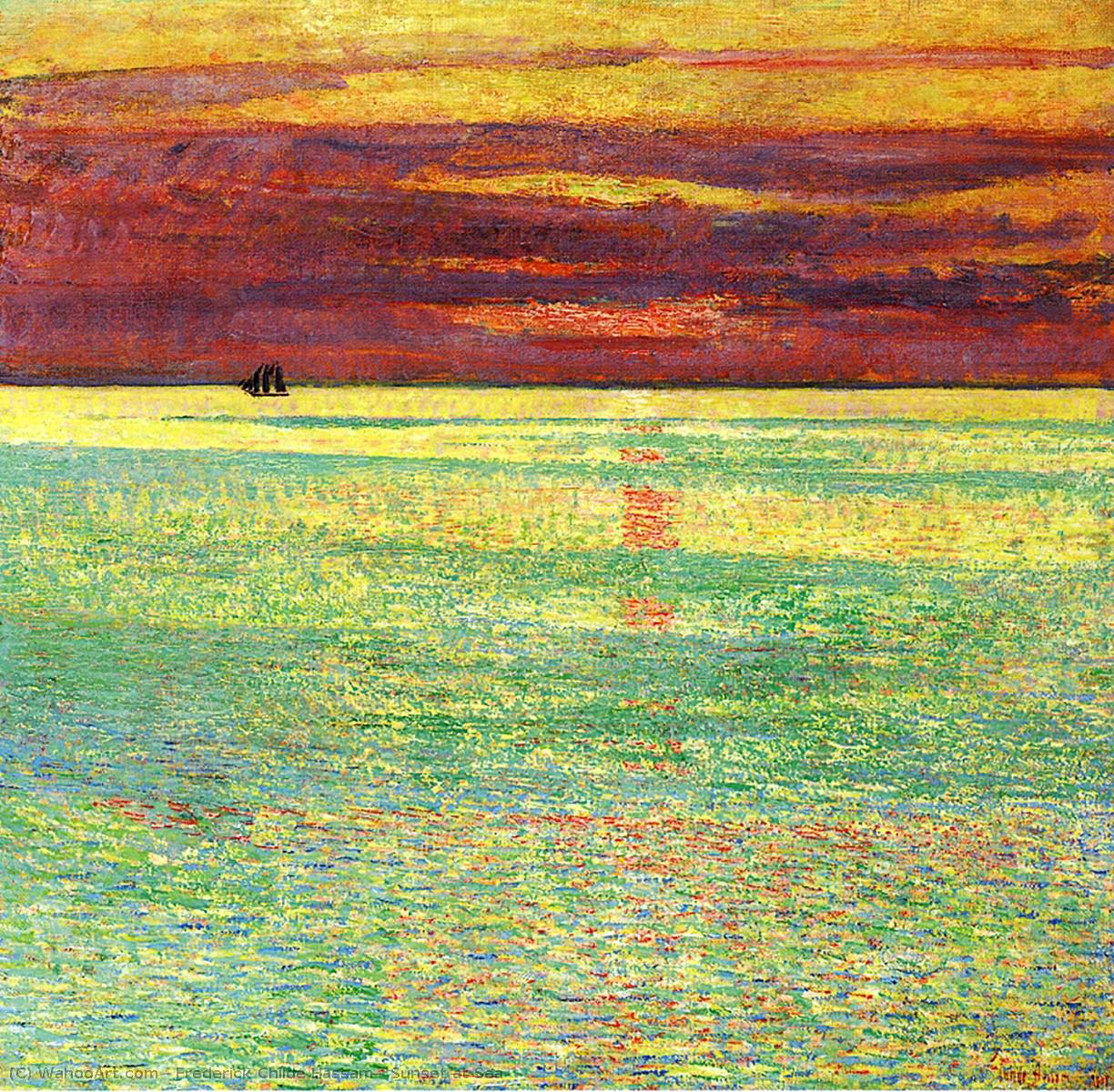 Achat Reproductions De Peintures | coucher du soleil à mer de Frederick Childe Hassam | Most-Famous-Paintings.com