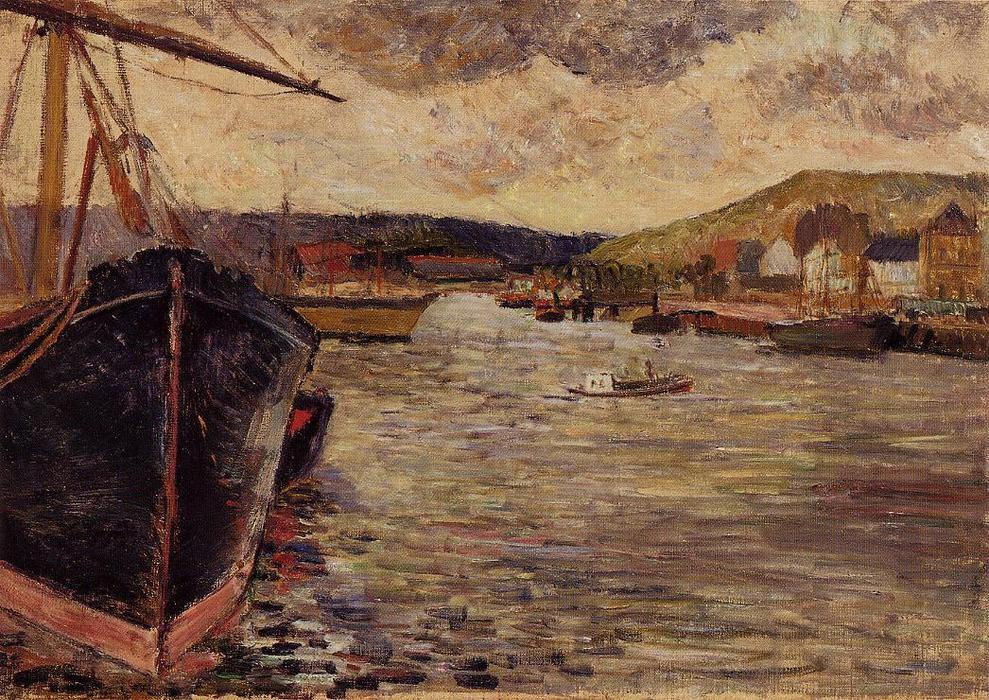 famous painting Le port de Rouen of Paul Gauguin