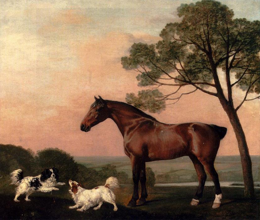 famous painting une Baie  Chasseur  avec  deux  Épagneuls  of George Stubbs