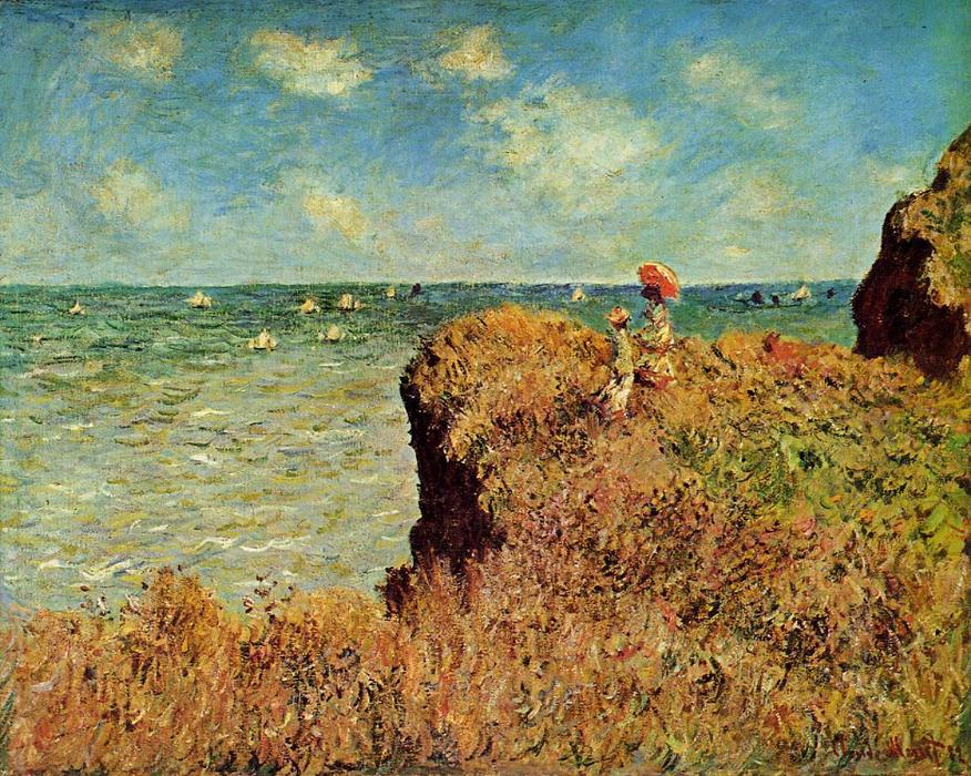 famous painting le cliff walk , Pourville of Claude Monet