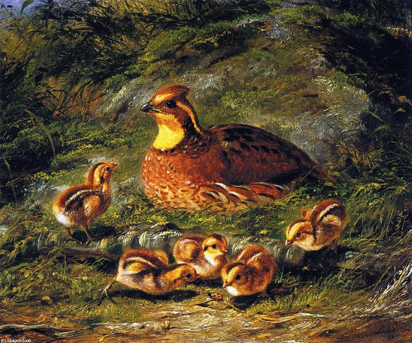 famous painting Poule, poussins et Coccinelle of Arthur Fitzwilliam Tait