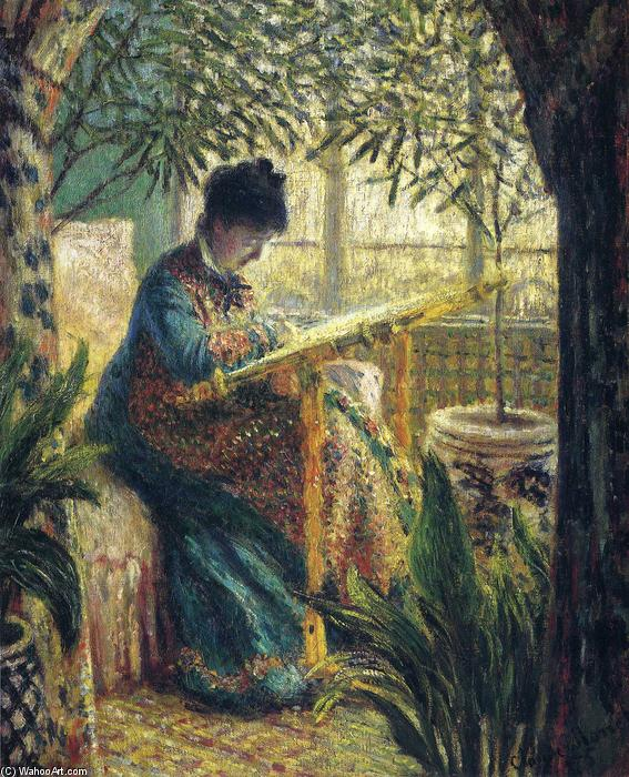 Achat Reproductions De Peintures | Mme Monet Broderie de Claude Monet | Most-Famous-Paintings.com