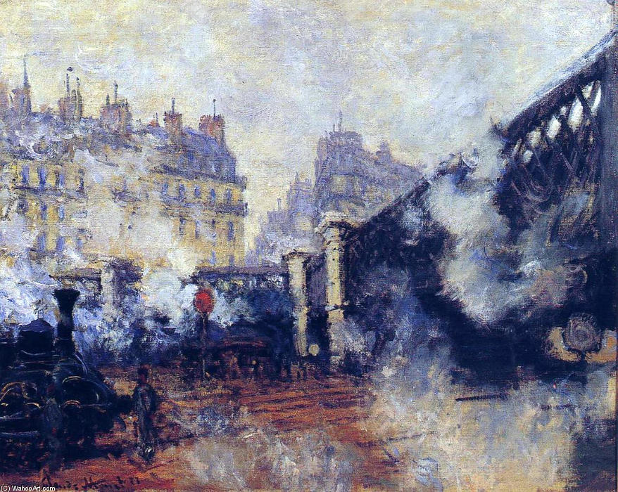 Achat Reproductions D'art | le pont de l'Europe , Gare Saint-Lazare de Claude Monet | Most-Famous-Paintings.com