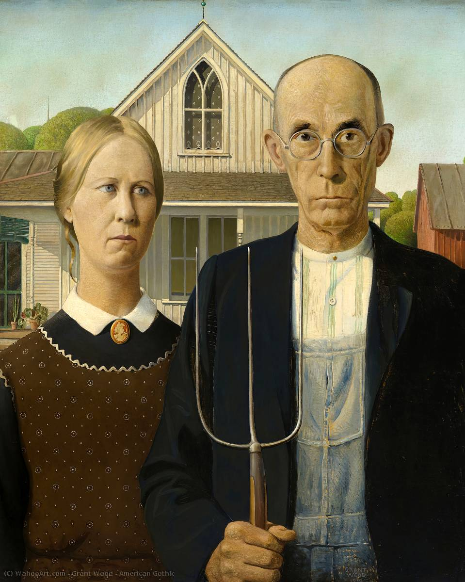 Acheter Reproductions D'art De Musée | gothique americain de Grant Wood | Most-Famous-Paintings.com
