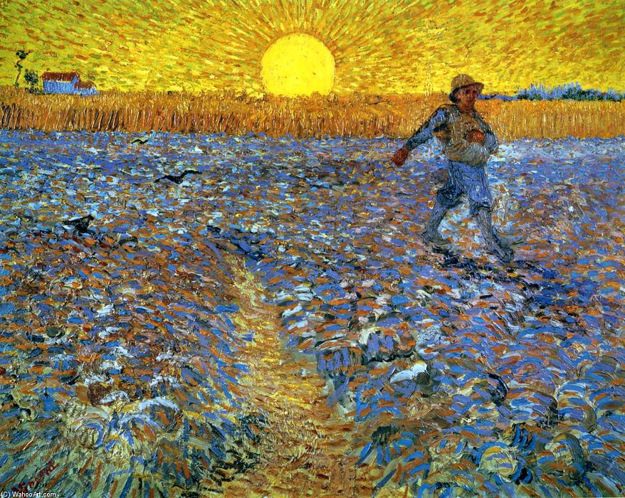 Achat Reproductions D'art | le semeur ( semeur avec soleil couchant ) de Vincent Van Gogh | Most-Famous-Paintings.com
