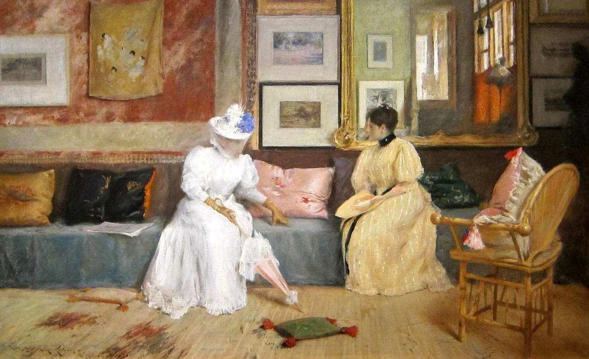 famous painting un appel amical of William Merritt Chase