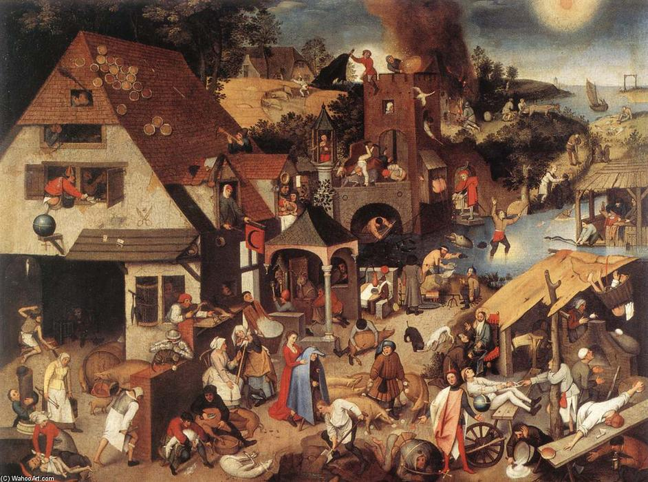 famous painting Les proverbes flamands of Pieter Bruegel The Younger