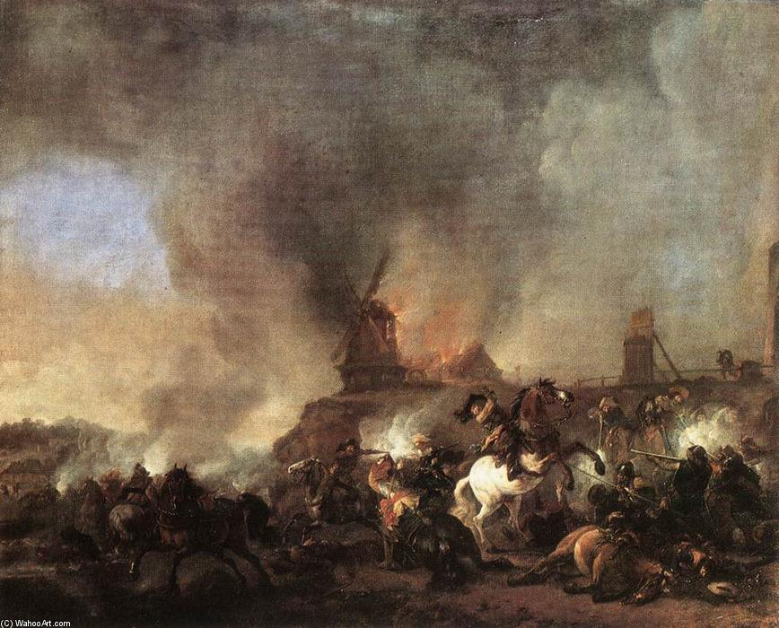 famous painting Cavalerie Bataille devant un Mill ardente of Philips Wouwerman