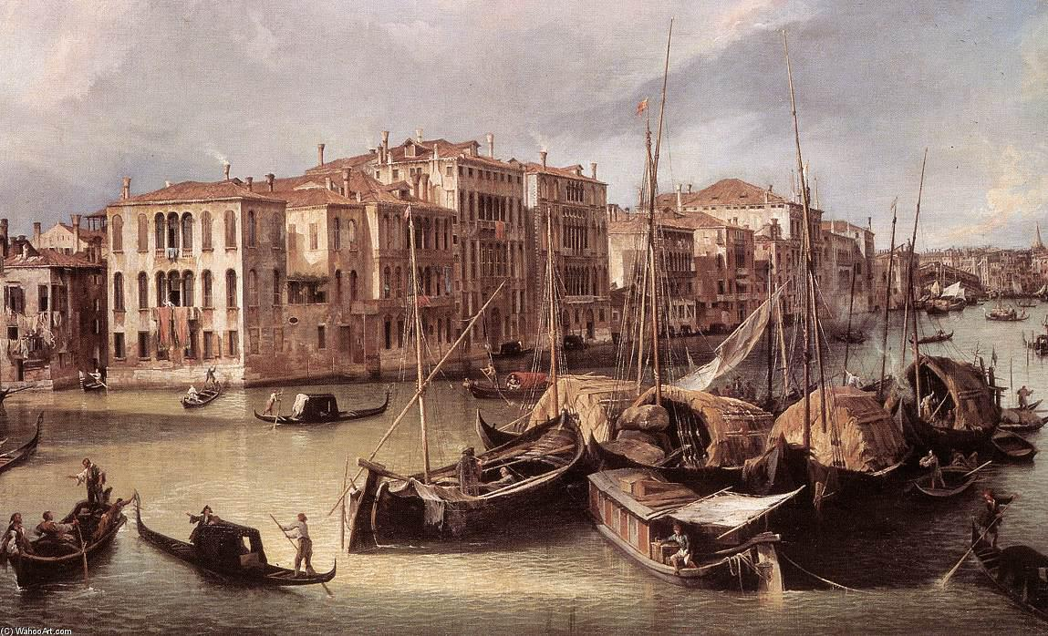 Achat Reproductions D'œuvres D'art | Grandiose Canal : À la recherche North-East vers la Rialto Pont ( détail ) de Giovanni Antonio Canal (Canaletto) | Most-Famous-Paintings.com