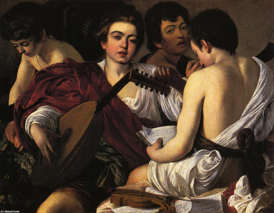 famous painting le musiciens of Caravaggio (Michelangelo Merisi)