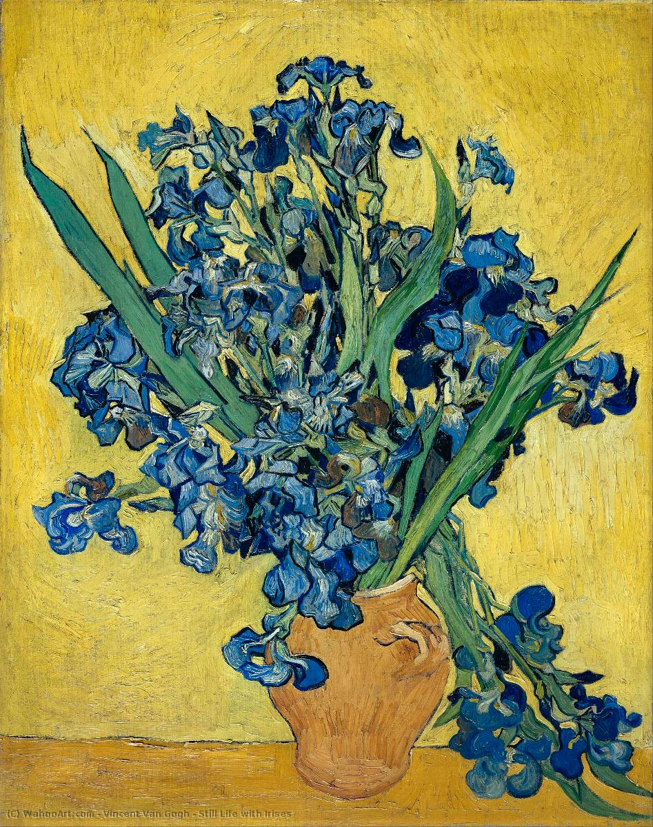 Achat Reproductions De Peintures | nature morte aux iris de Vincent Van Gogh | Most-Famous-Paintings.com
