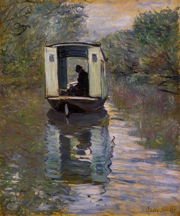 famous painting le studio boat of Claude Monet