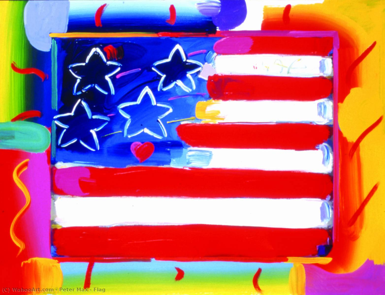 famous painting drapeau of Peter Max