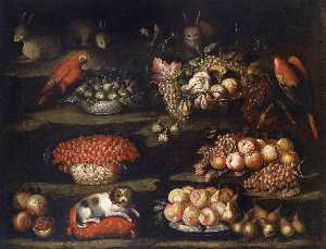 Francisco Barrera - nature morte avec animaux  et  fruits