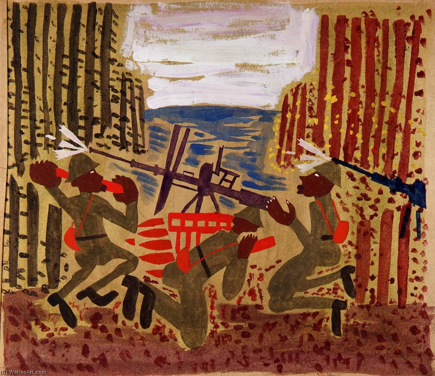 | guerre scène de William Henry Johnson | Most-Famous-Paintings.com