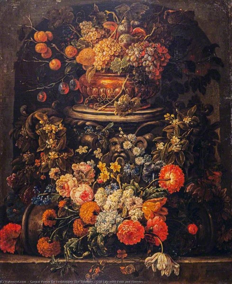 famous painting Nature morte avec fruits et  Fleurs  of Gaspar Peeter De Verbruggen The Younger